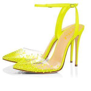 FSJ Yellow Pencil High Heel Clear Studded Sandals
